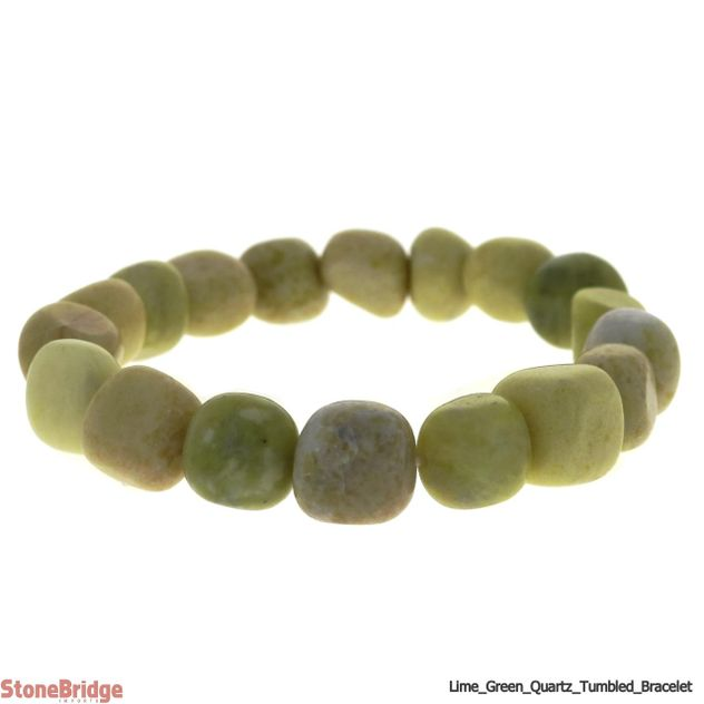 Lime Green Quartz Tumbled Bead Stretch Bracelet