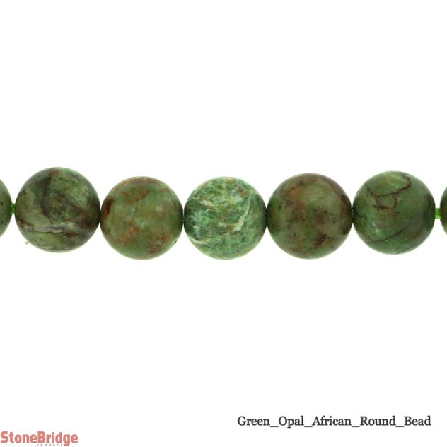 Green African Opal - Round Bead 15""