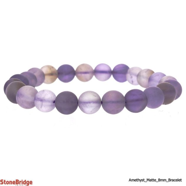 Amethyst Matte Purple Round Bead Stretch Bracelet