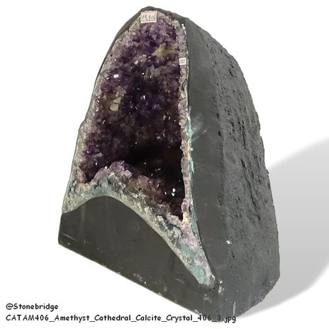 Amethyst Cathedral Calcite Crystal # 406 side view