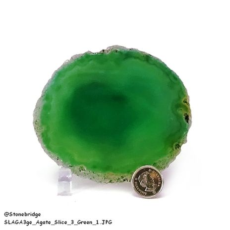 "Green Agate Slice Thin #3 - 3 1/2"" to 5"""