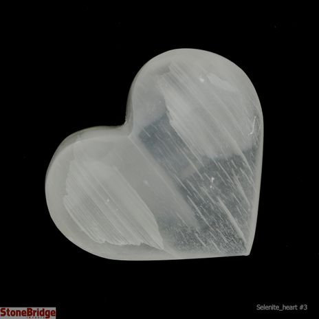 """Selenite Puffy Heart - Size #3 - 1 1/2"""" To 2 1/2"""""""