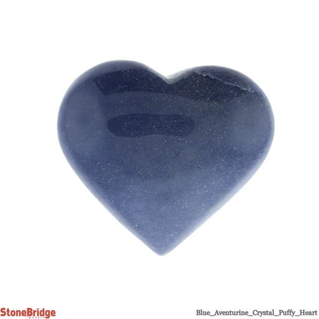 """Blue Aventurine Crystal Puffy Heart - Size #6 - 2"""" to 3 1/4"""""""