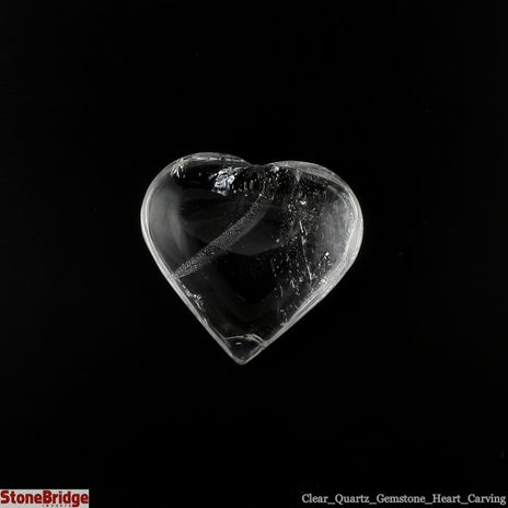 """Clear Quartz Crystal Heart - Size #1 - 35 mm x 30 mm (1"""" to 1 1/2"""")"""