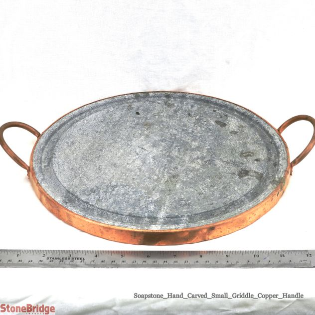 "Soapstone Grilling Plate - Copper handles - 10"" - Small"