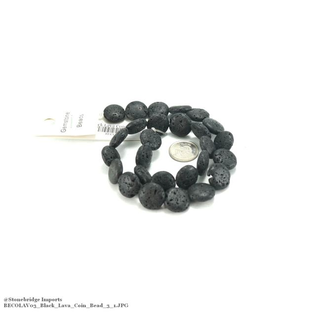 "Black Lava - Coin Bead 15"" Strand - 14mm -#3"