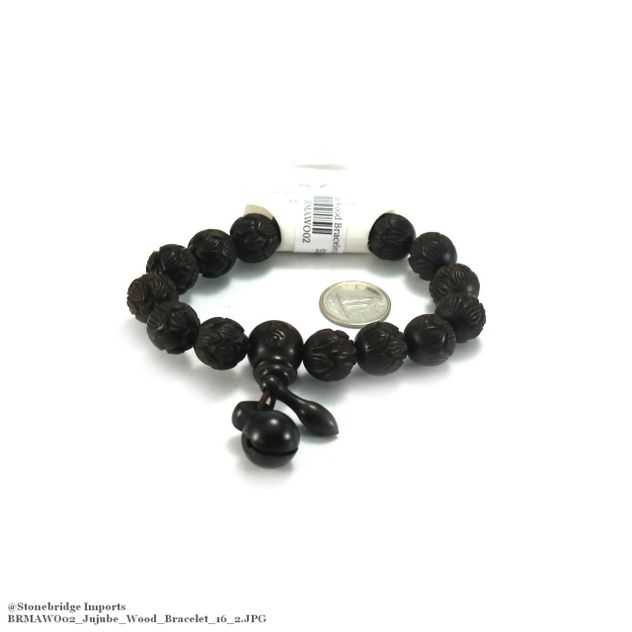 Jujube Carved Mala Bracelet - 13mm -#2