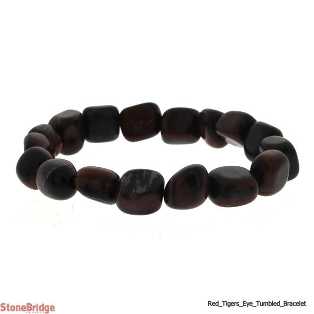 Tiger Eye Red Tumbled Bead Stretch Bracelet