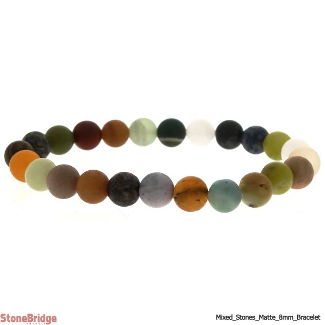 Mix Stones Matte Round Bead Stretch Bracelet - 8mm