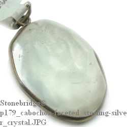 Crystal Quartz Faceted Cabochon - Silver Pendant
