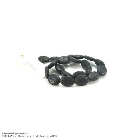"Black Lava - Flat Oval Bead 15"" Strand - 15x20mm -#2"