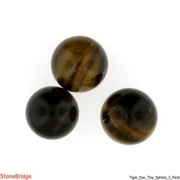 Tiger Eye Sphere - Tiny - Pack of 3