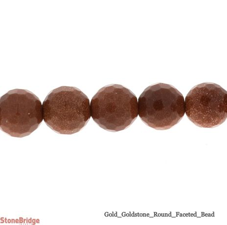 Goldstone Faceted - Round Bead
