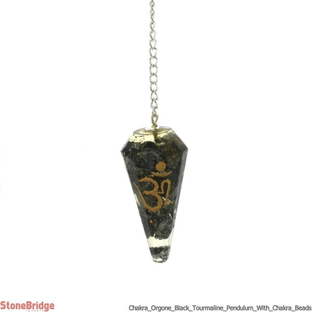 Black Tourmaline Orgone Pendulum with Chakra Beads on Chain