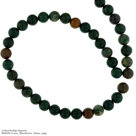 "Bloodstone - Round Bead 15"" strand - 8mm"