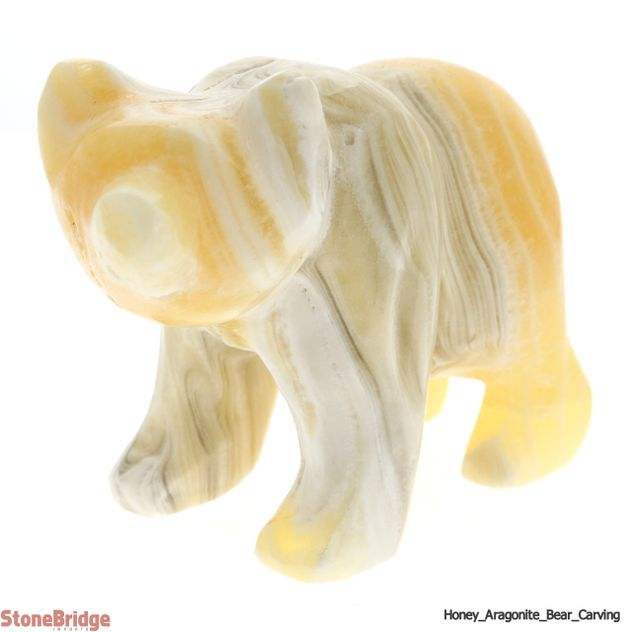 "Honey Aragonite Bear Carving - Size # 2 - 2 3/4"" to 3 1/4"""