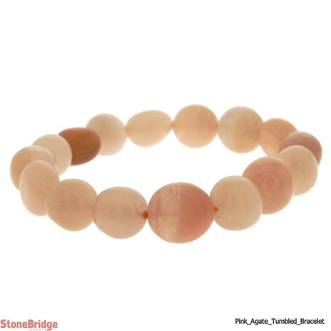 Natural Pink Agate Tumbled Bead Stretch Bracelet