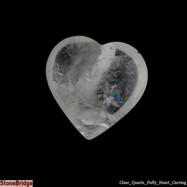 "Clear Quartz Crystal Puffy Heart - Size #4 - 1 3/4"" to 2 3/4"""