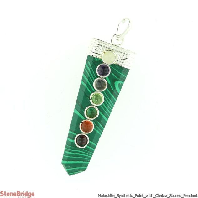 Malachite (Synthetic) Point with Chakra Stones Pendant