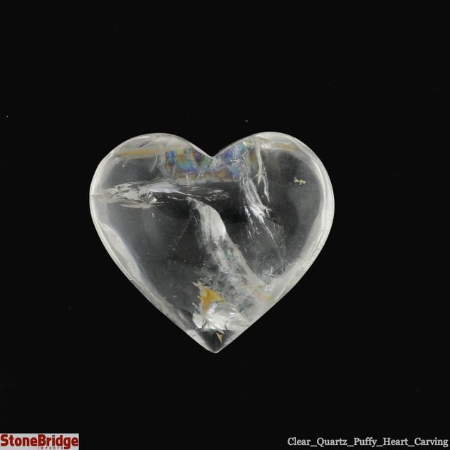 "Clear Quartz Crystal Puffy Heart - Size #3 - 1 1/2"" to 2 1/2"""