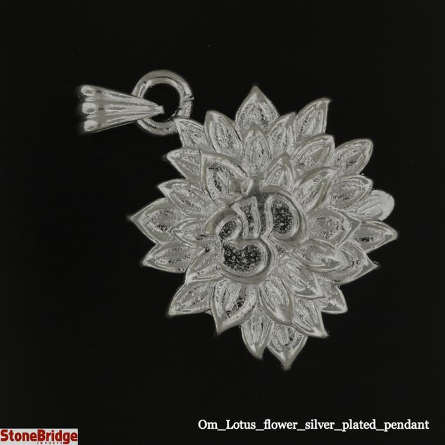 Om Lotus flower silver plated pendant