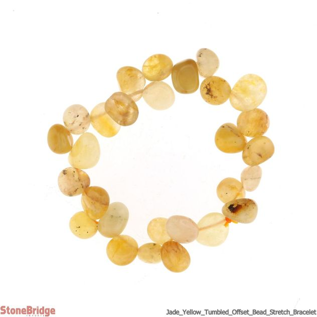 Jade Yellow Tumbled Offset Bead Stretch Bracelet