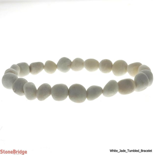 Jade White Tumbled Bead Stretch Bracelet