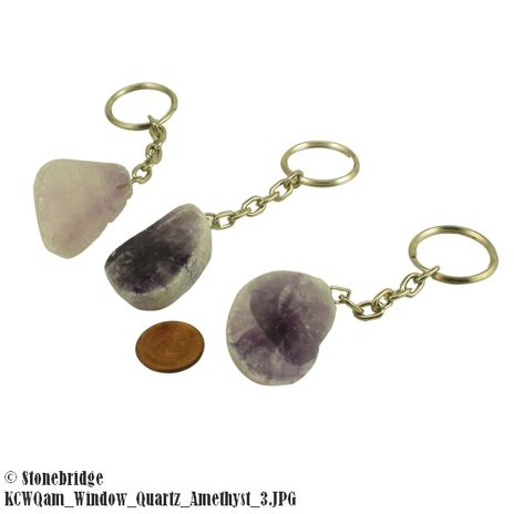 Window Quartz Key Chain - Amethyst