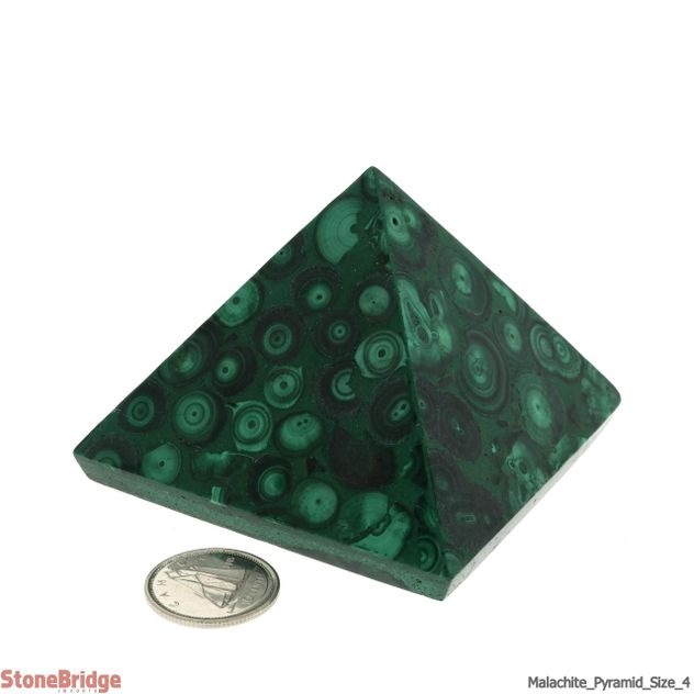 "Malachite Pyramid - Size #4 - 2"" x 2 1/2"""