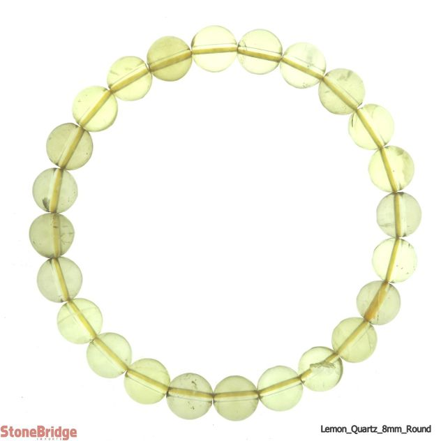 Lemon Quartz Round Bead Stretch Bracelet