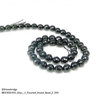 "Onyx - A Faceted - Round Bead 15"" strand - 2mm"