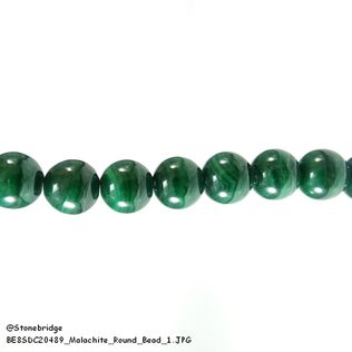 "Malachite - Round Bead 7"" strand - 10mm"