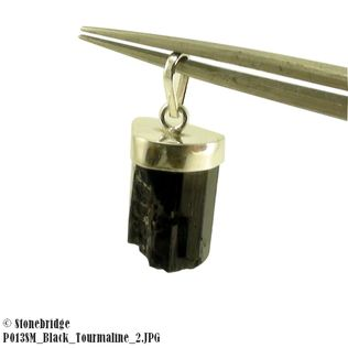 Black Tourmaline Point - Small - Silver Pendant