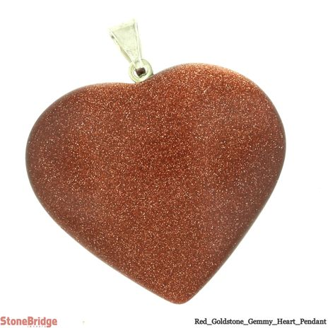 Red Goldstone Gemmy Heart Pendant - 28mm x 27mm