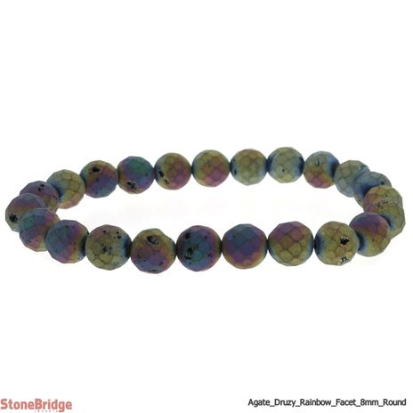 Druzy Agate Electroplated Rainbow Faceted Round Bead Stretch Bracelet - 8mm