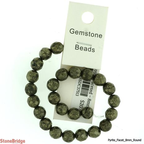 """Pyrite Faceted - Round Bead 7"""" strand"""