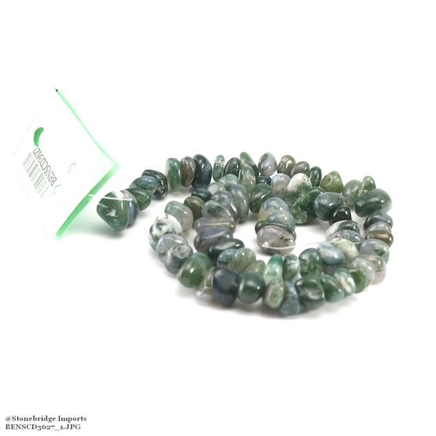 "Moss Agate - Nugget Bead 15"" strand - 8 to 15mm, #1"