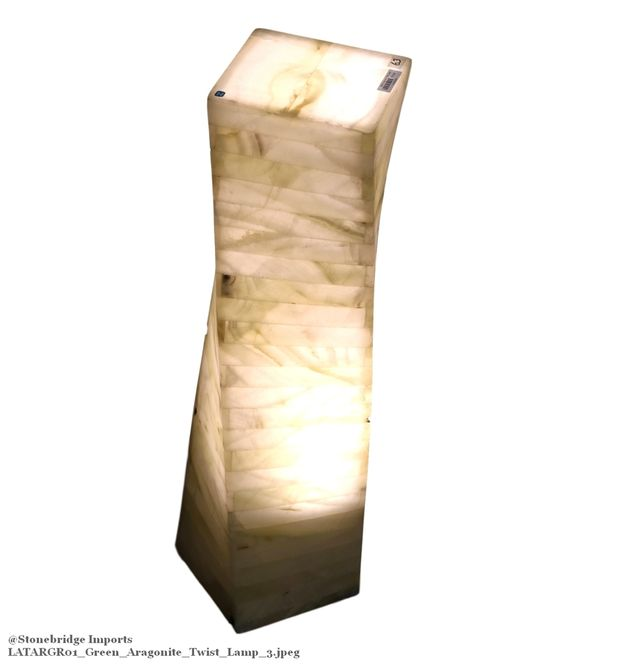 Green Aragonite Twist Marquetry Lamp - 60cm high