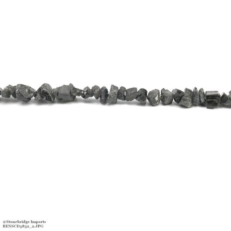 "Black Tourmaline Rough- Nugget Bead 15"" strand - 8 to 15mm"