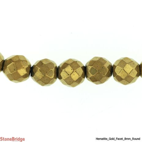 "Hematite Gold Colour Faceted - Round Bead 15"" strand - 6mm"