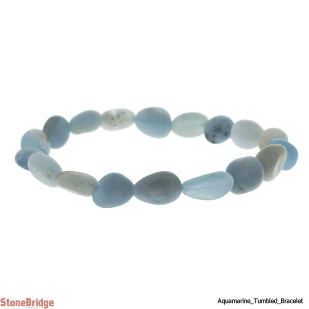 Aquamarine Tumbled Bead Stretch Bracelet