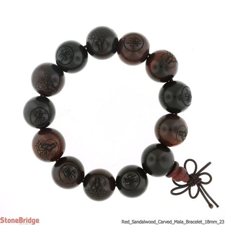 Red Sandalwood Carved Mala Bracelet - 18mm