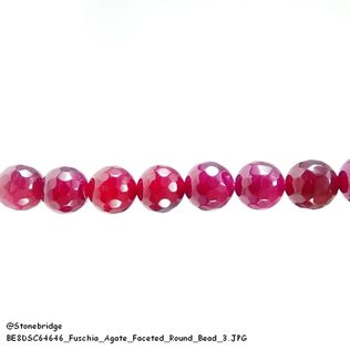 Fuschia Agate Faceted - Round Bead