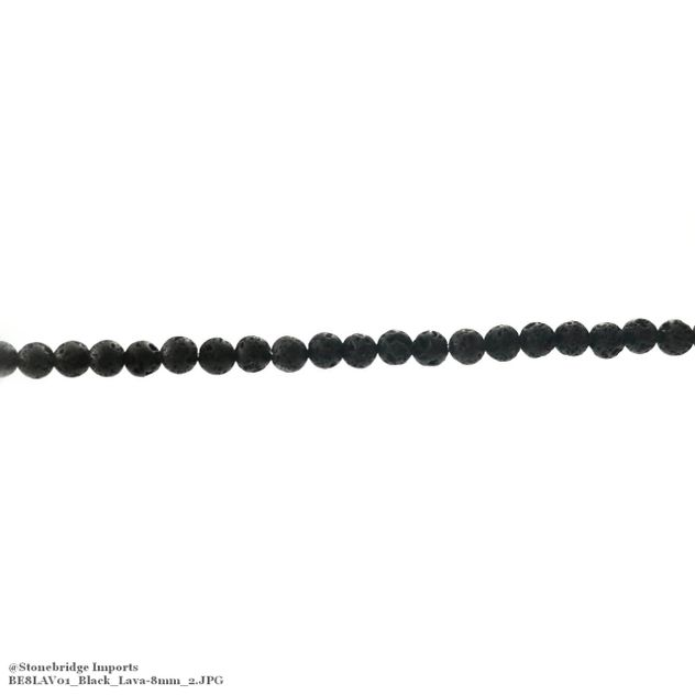 "Black Lava - Round Bead 15"" strand - 8mm"