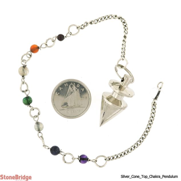 Metal Pendulum - Silver Colour Cone & Top with Chakra Beads - 1""