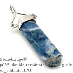 Sodalite Double terminated wand with swivel bail - Silver Pendant