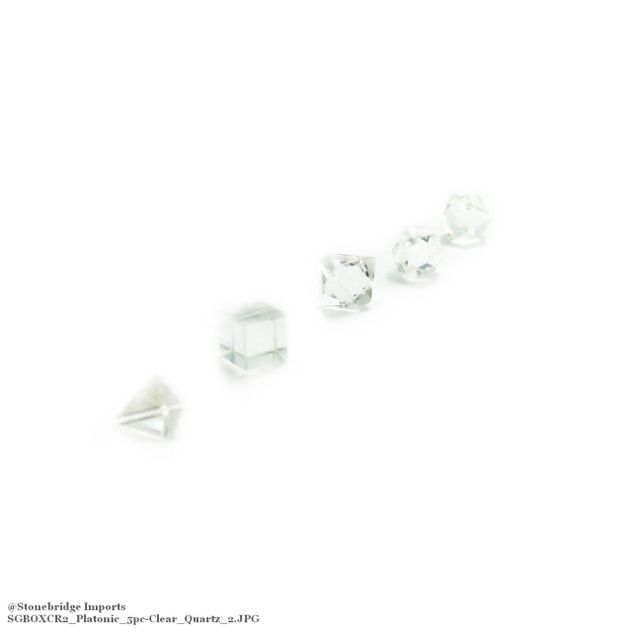 "Clear Quartz 3/4"" Platonic Solids Set in Wood Case"
