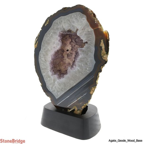 "Agate Geode on Wood Base Unique #11 - 8 1/2"" tall 2.46kg"