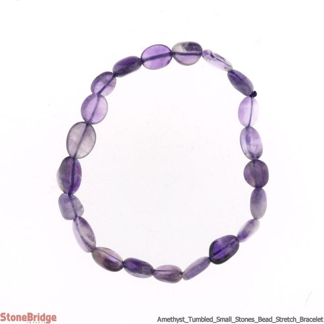 Amethyst Tumbled (small stones) Bead Stretch Bracelet