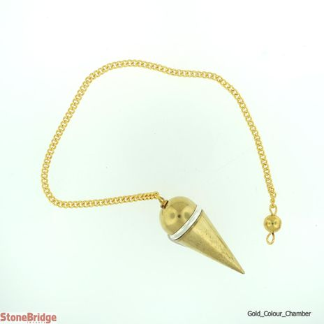 Gold Colour Metal Secret Chamber Point Pendulum with Silver Ring
